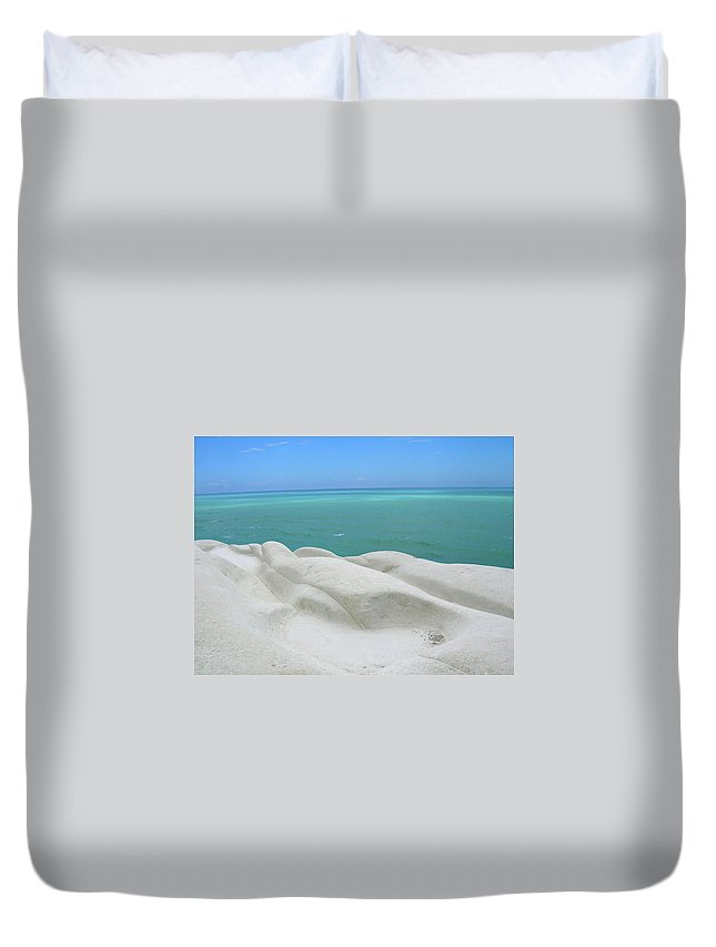 Limestone Duvet Cover featuring the photograph Limestone Cliffs And Sea by Stefania Levi