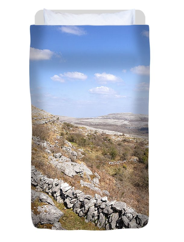 Limestone Duvet Cover featuring the photograph Limestone Pavements And Dry-stone Walls, Fahee North, Burren, County Clare, Ireland by Peter Barritt