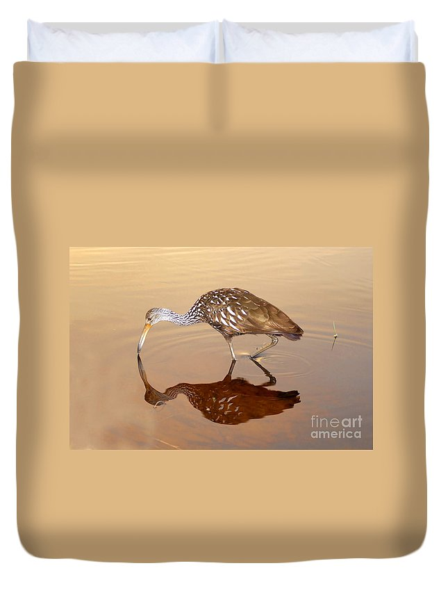 Limpkin Duvet Cover featuring the photograph Limpkin In The Mirror by David Lee Thompson