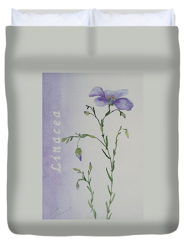 Flower Duvet Cover featuring the painting Linacea by Ruth Kamenev