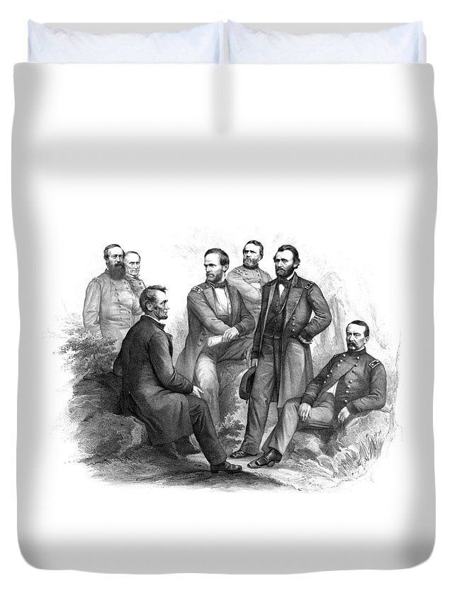 Civil War Duvet Cover featuring the drawing Lincoln And His Generals Black And White by War Is Hell Store