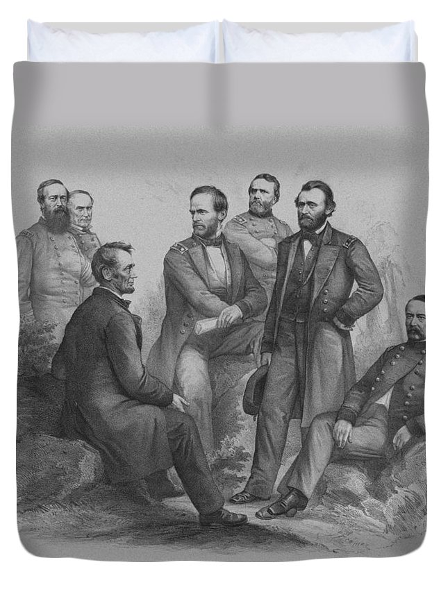 Civil War Duvet Cover featuring the drawing Lincoln And His Generals by War Is Hell Store