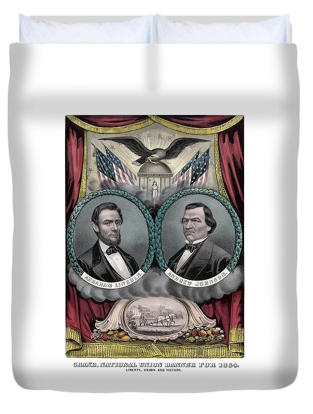Abraham Lincoln Duvet Cover featuring the painting Lincoln And Johnson Election Banner 1864 by War Is Hell Store