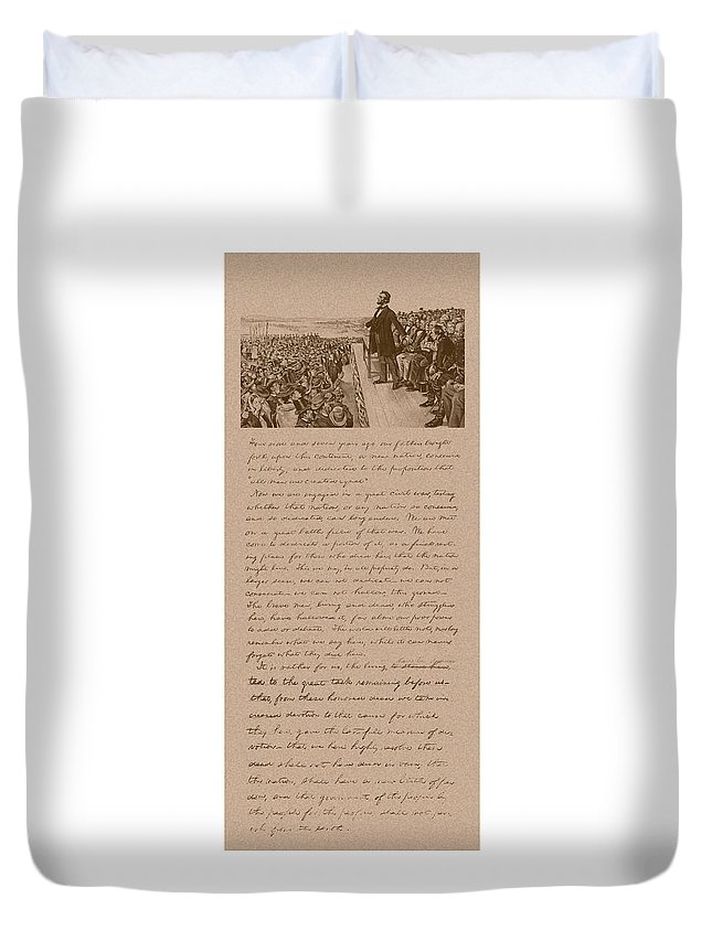 Abraham Lincoln Duvet Cover featuring the mixed media Lincoln And The Gettysburg Address by War Is Hell Store