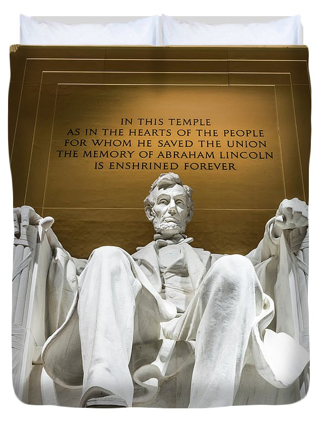 Abraham Lincoln Duvet Cover featuring the photograph Lincoln Memorial 2 by Larry Marshall