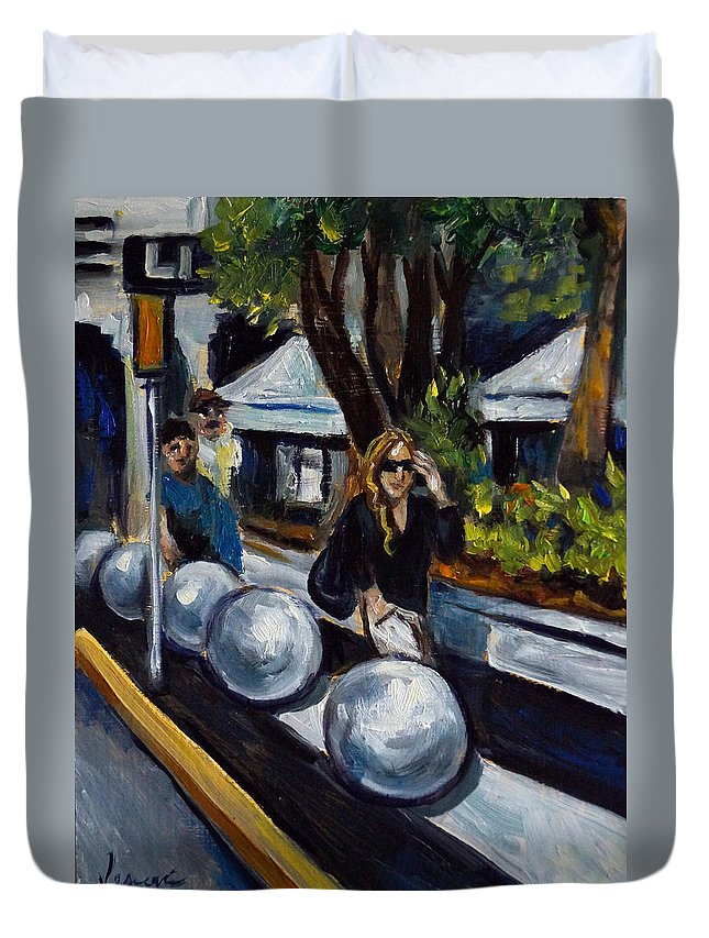 Shopping Duvet Cover featuring the painting Lincoln Road by Valerie Vescovi