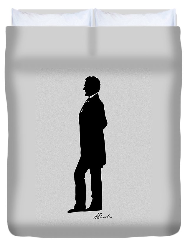 Abraham Lincoln Duvet Cover featuring the digital art Lincoln Silhouette And Signature by War Is Hell Store