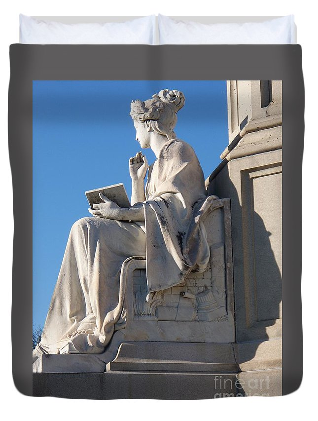 Lincoln Duvet Cover featuring the painting lincoln statue Gettysburg PA by Eric Schiabor