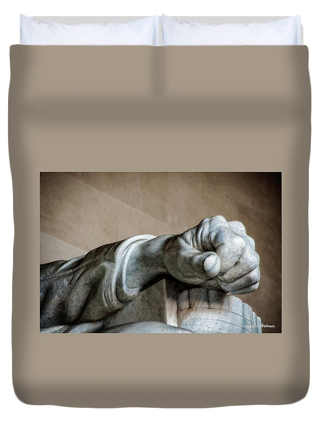 Hand Duvet Cover featuring the photograph Lincoln's Left Hand by Christopher Holmes