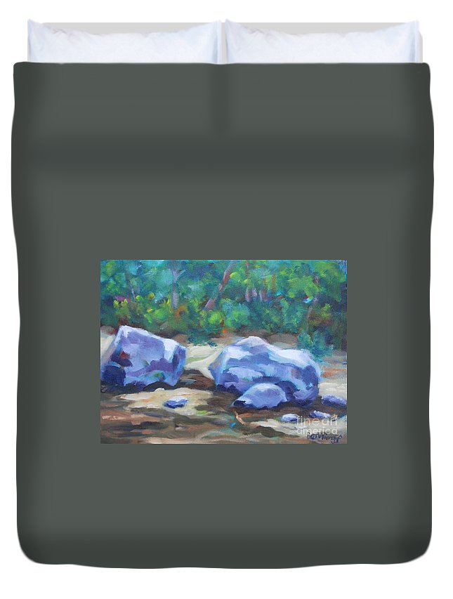 Expressionist Landscape Duvet Cover featuring the painting Lindenlure by Jan Bennicoff