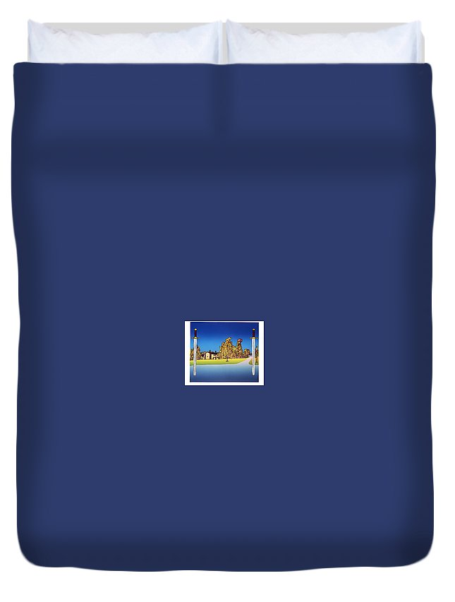 Landscape Duvet Cover featuring the mixed media Linderud by Jarle Rosseland