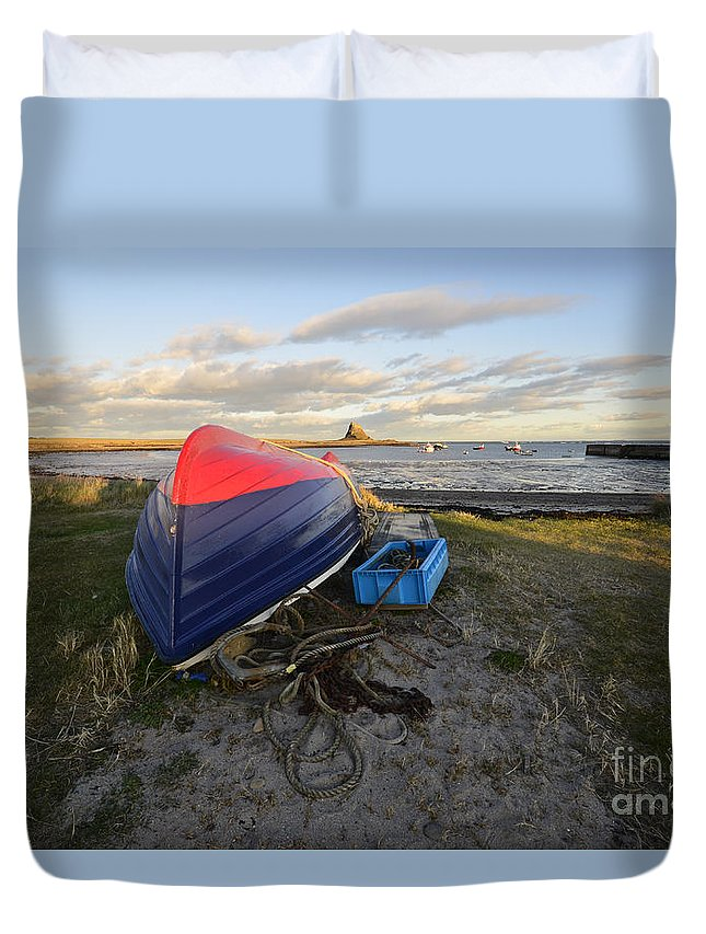 Holy Island Duvet Cover featuring the photograph Lindisfarne by Smart Aviation
