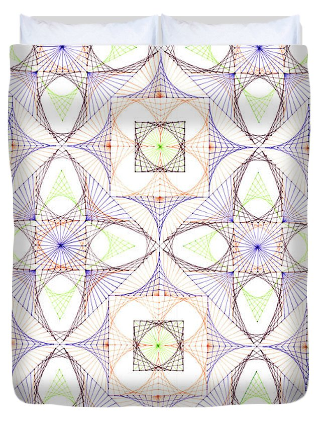 Geometry Duvet Cover featuring the drawing Line Dance by Bev Donohoe