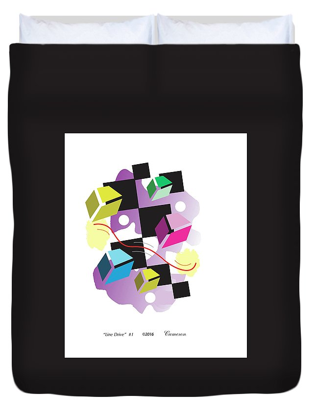 Sport Duvet Cover featuring the digital art Line Drive #1 by Allan Cameron