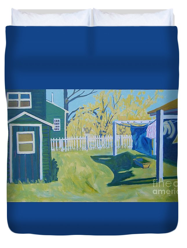 Backyard Duvet Cover featuring the painting Line Of Wash by Debra Bretton Robinson