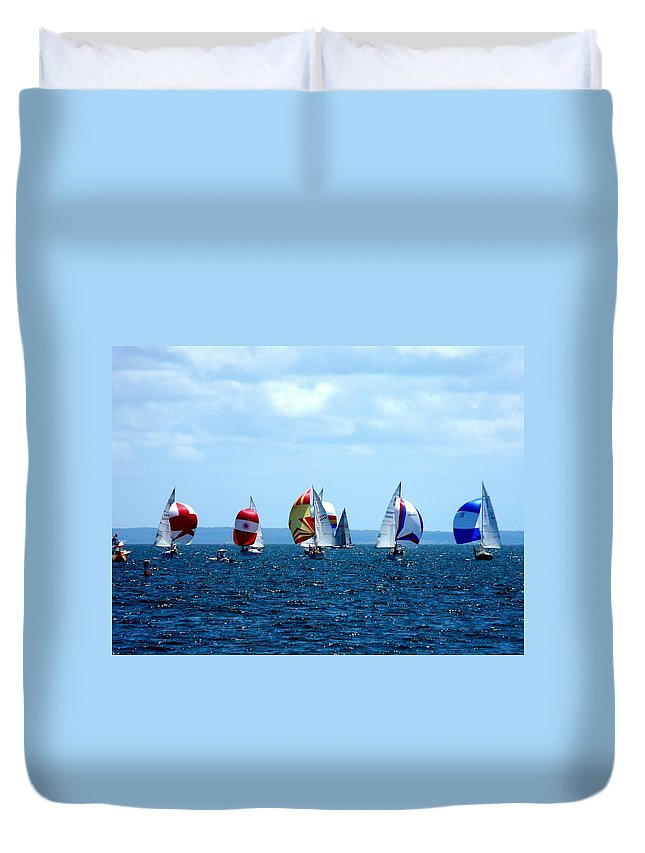 Landscape Duvet Cover featuring the photograph Line Up by Kendall Eutemey