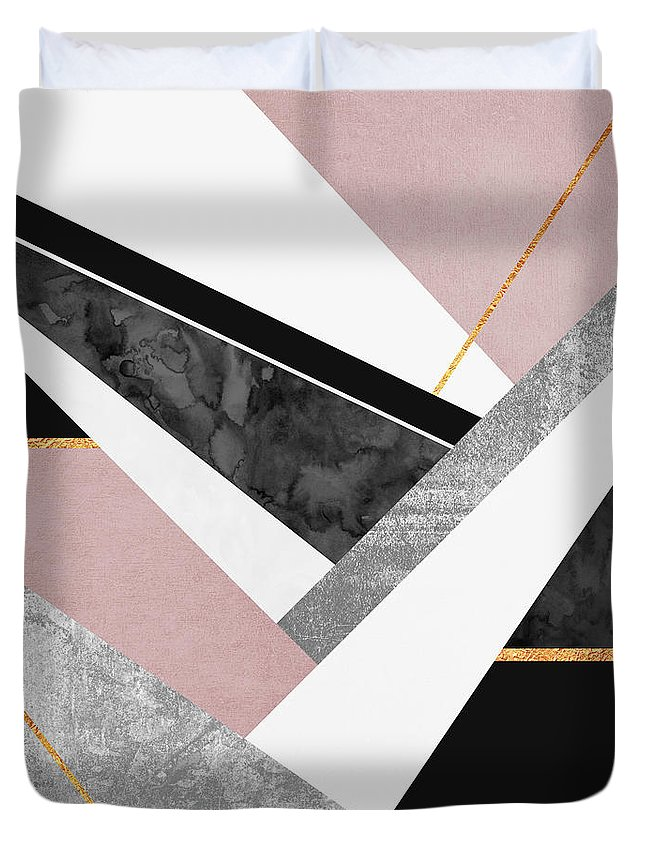 Digital Duvet Cover featuring the digital art Lines and Layers by Elisabeth Fredriksson