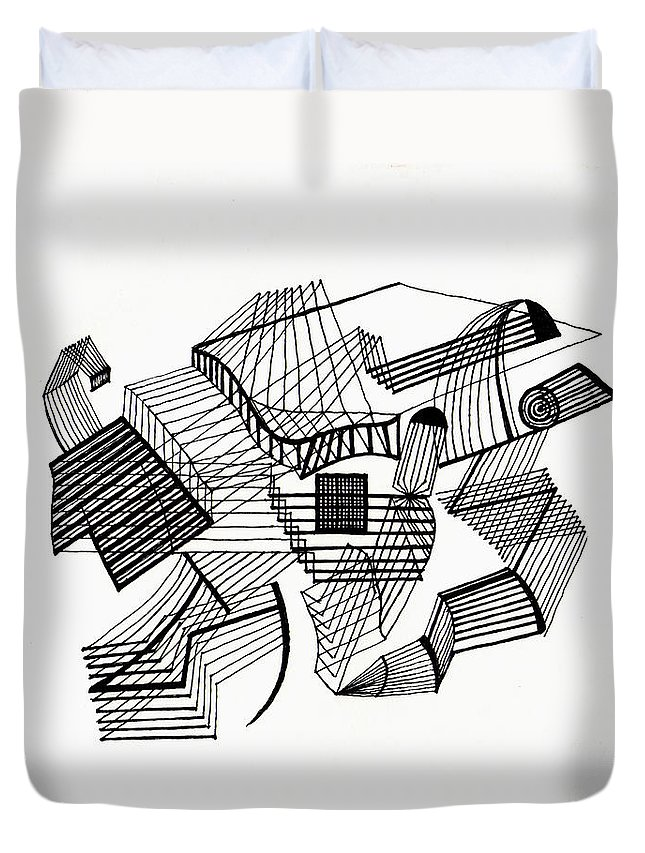 Line Duvet Cover featuring the drawing Lines by Andy Mercer