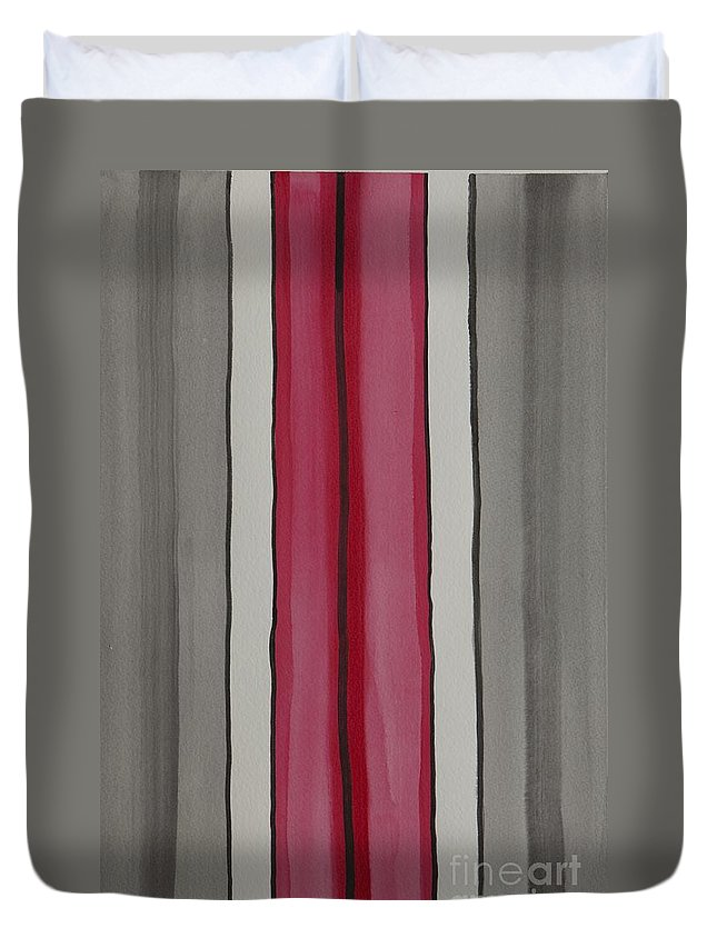 Red Duvet Cover featuring the painting Lines by Jacqueline Athmann