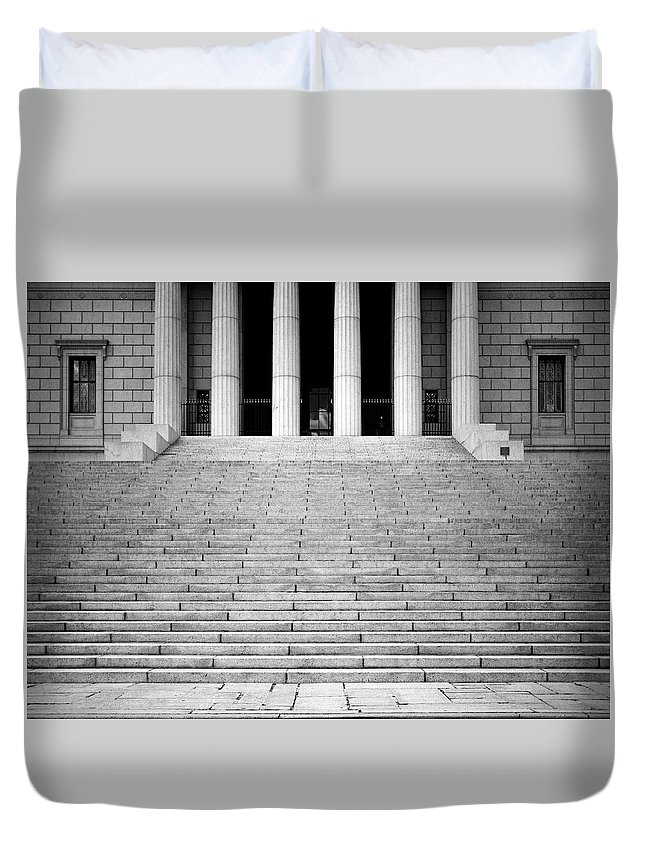 Architecture Duvet Cover featuring the photograph Lines by Joseph Shbair