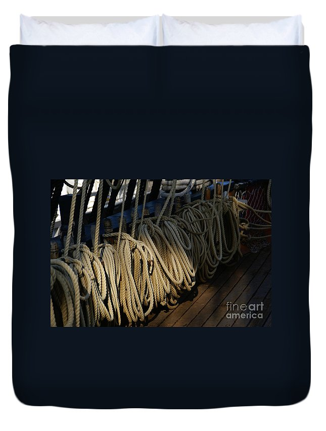 Maritime Duvet Cover featuring the photograph Lines by Linda Shafer