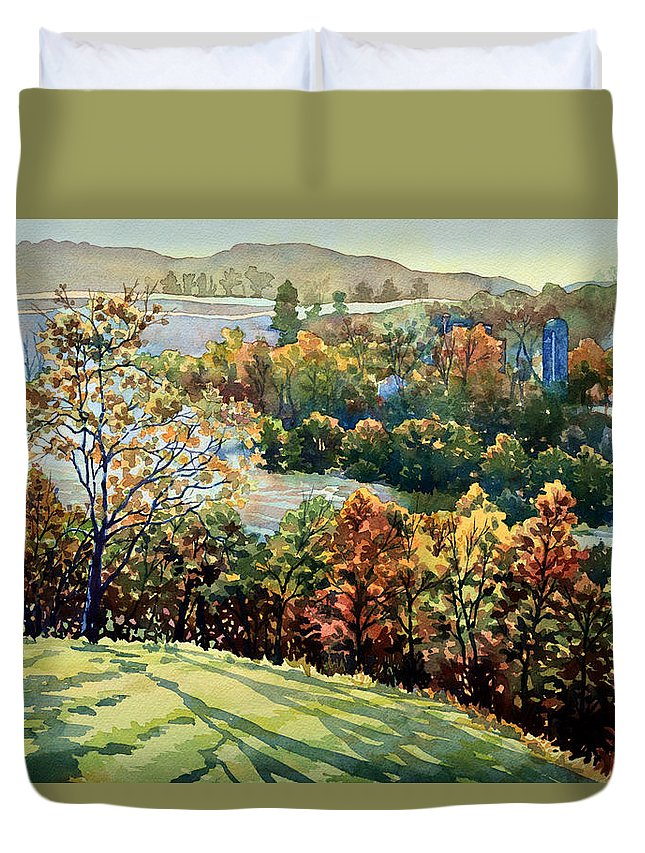 Nature Duvet Cover featuring the painting Linganore Dew by Mick Williams