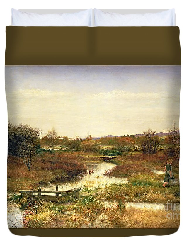 Lingering Autumn Duvet Cover featuring the painting Lingering Autumn by Sir John Everett Millais