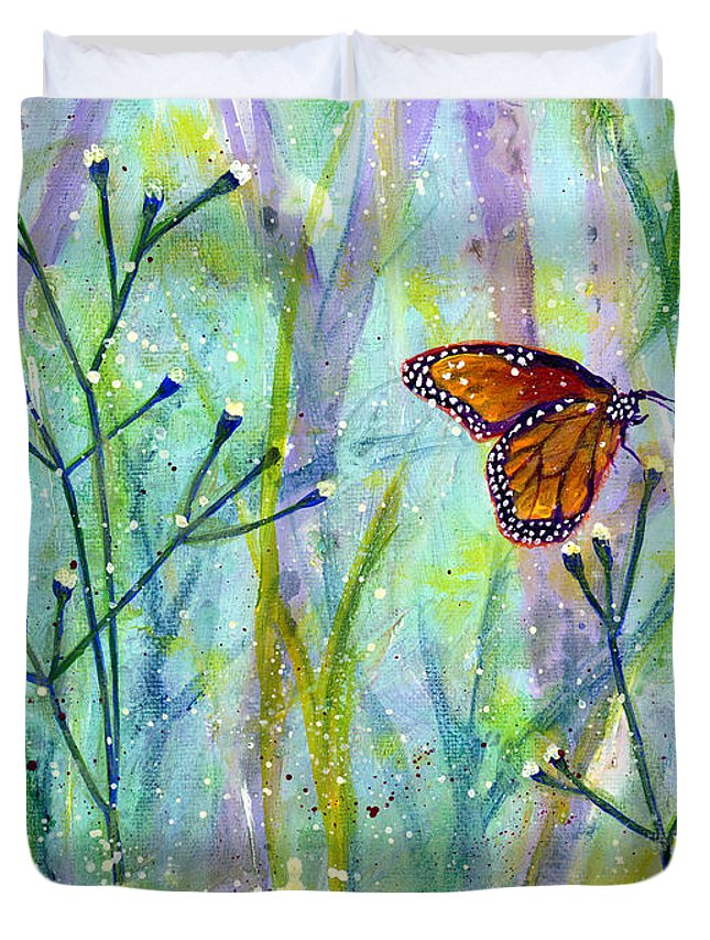 Butterfly Duvet Cover featuring the painting Lingering Memory 1 by Hailey E Herrera
