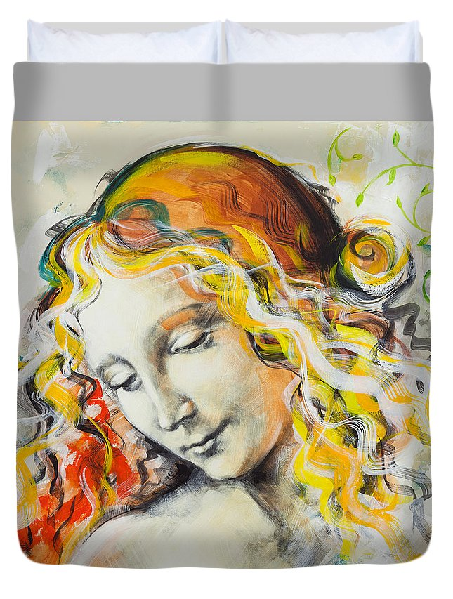 Madona Duvet Cover featuring the painting L'innamorata by Jean Pierre Rousselet