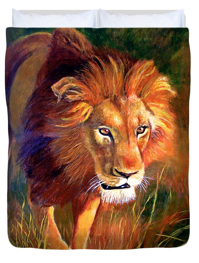 Lion Duvet Cover featuring the painting Lion At Sunset by Michael Durst