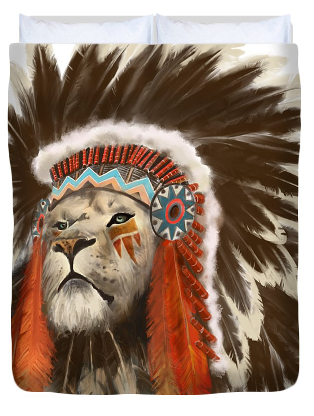 Lion Duvet Cover featuring the painting Lion Chief by Sassan Filsoof