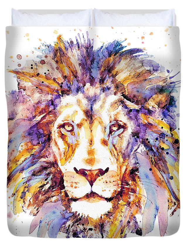 Lion Duvet Cover featuring the painting Lion Head by Marian Voicu