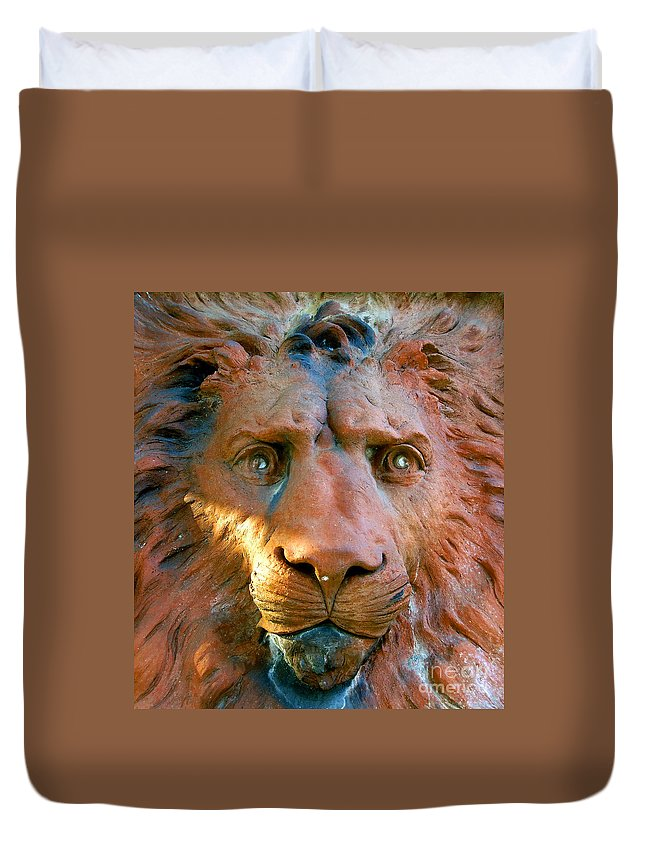 Saint Augustine Florida Duvet Cover featuring the photograph Lion Of Saint Augustine by David Lee Thompson