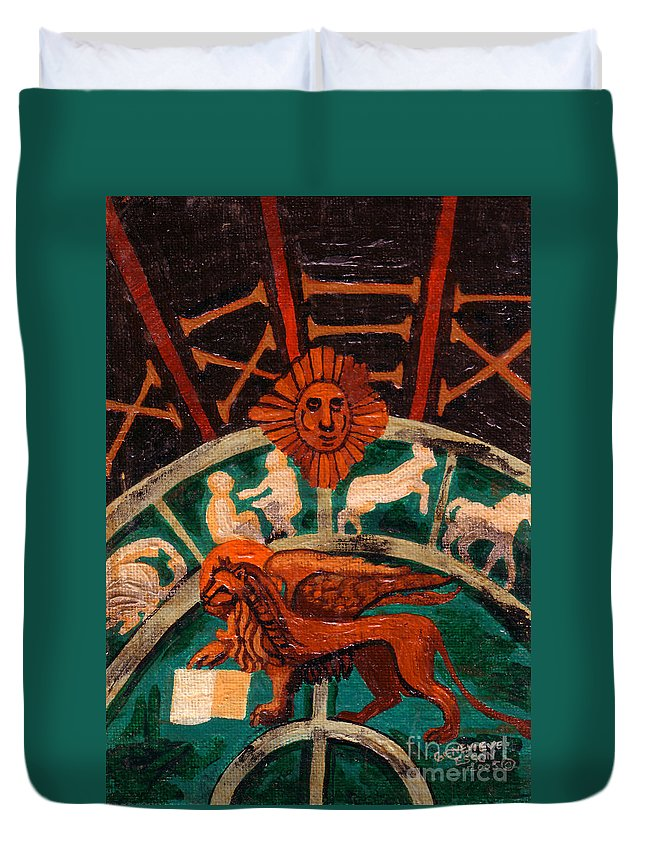 Lion Duvet Cover featuring the painting Lion Of St. Mark by Genevieve Esson