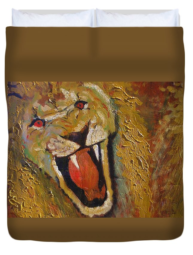 Lion Duvet Cover featuring the painting Lion one by J Bauer