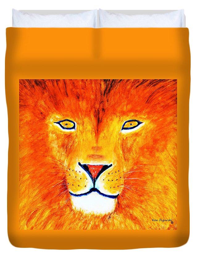 Lion Duvet Cover featuring the painting Lion Selfie Color Pop by Ken Figurski