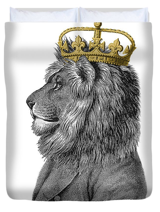 Lion Duvet Cover featuring the digital art Lion The King Of The Jungle by Madame Memento