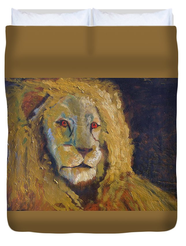 Lion Duvet Cover featuring the painting Lion two by J Bauer