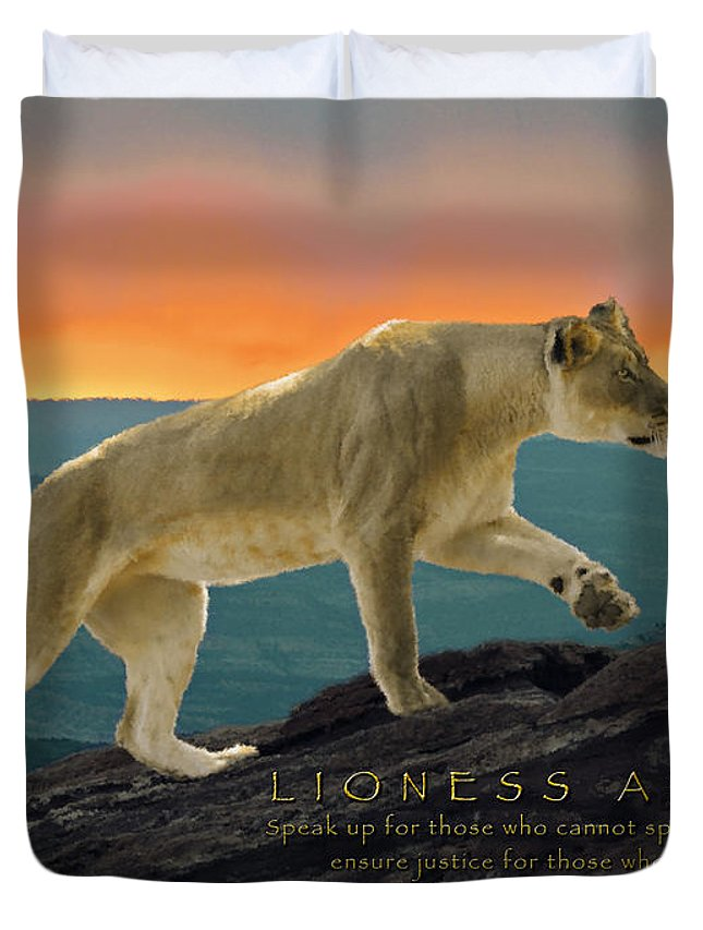 Lioness Arising Duvet Cover featuring the photograph Lioness Arising by Constance Woods