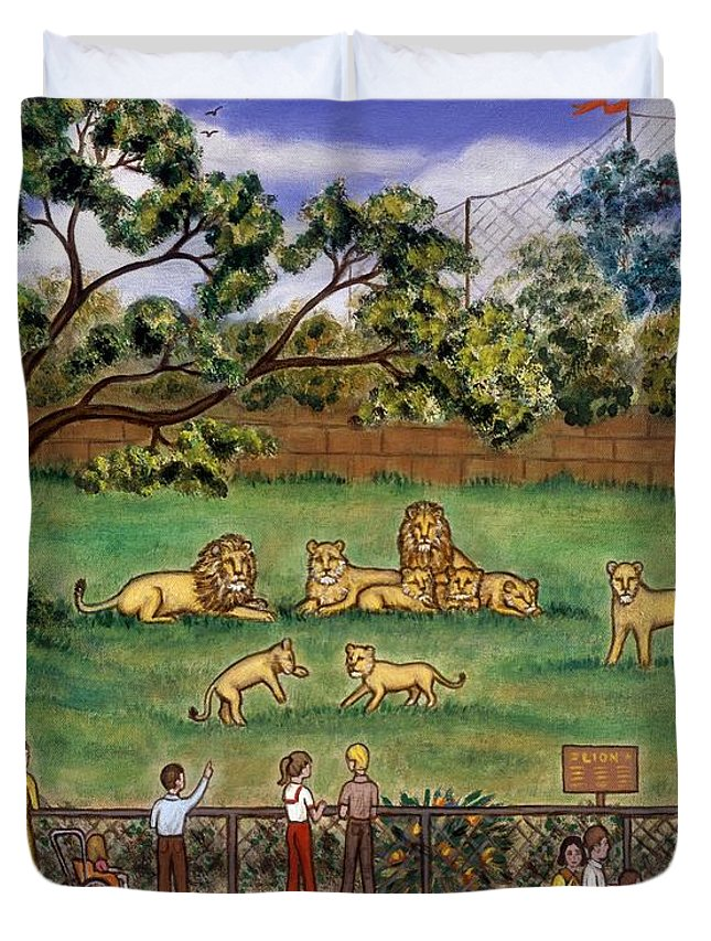 Folk Art Lion Duvet Cover featuring the painting Lions At The Zoo by Linda Mears