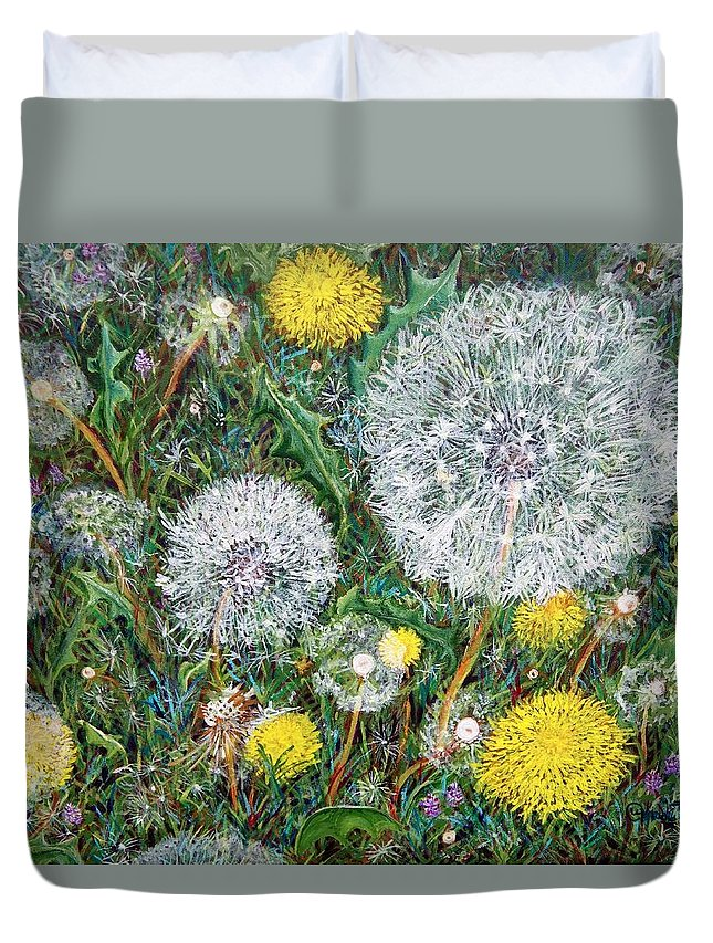 Dandelion Duvet Cover featuring the painting Lions Of The Garden by Linda Markwardt