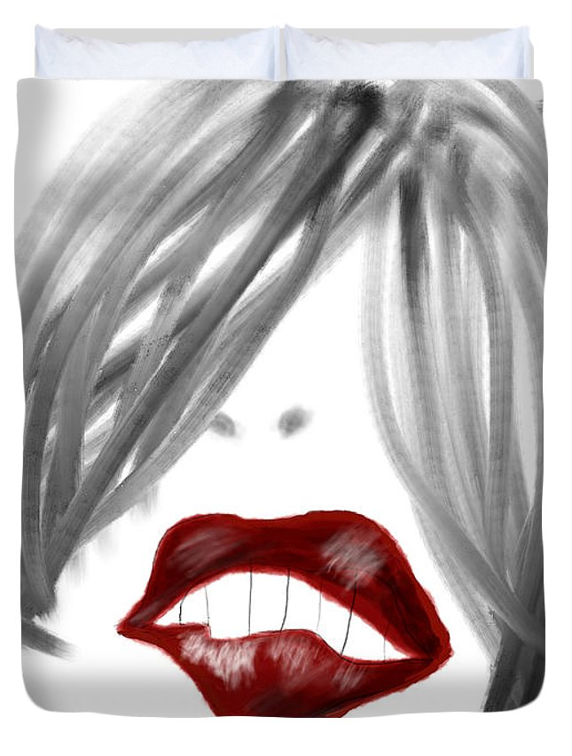 Apple Pencil Drawing Duvet Cover featuring the painting Lips Too by Bill Owen