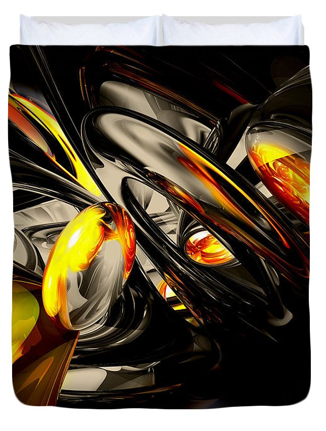 3d Duvet Cover featuring the digital art Liquid Chaos Abstract by Alexander Butler