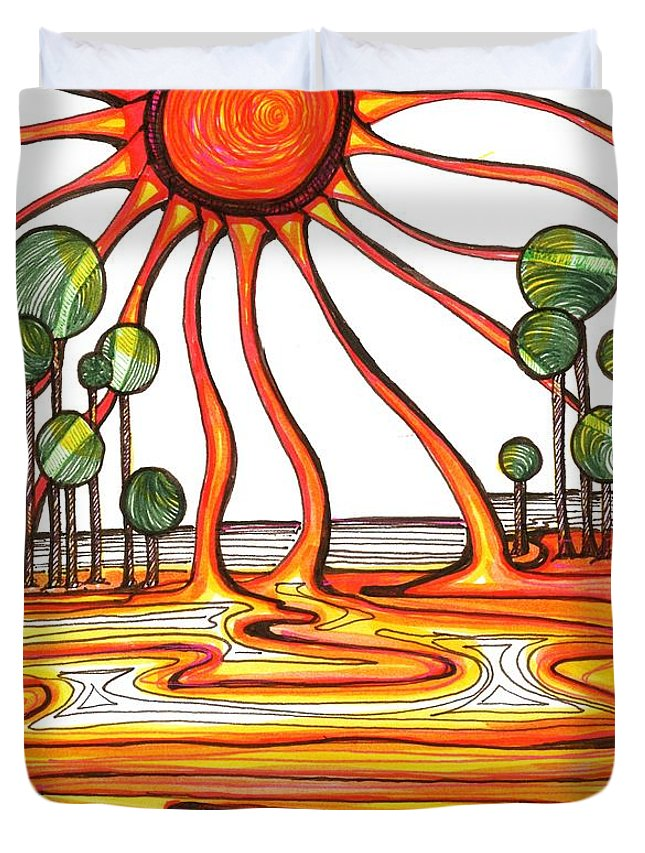 Sun Duvet Cover featuring the drawing Liquid Star by Laura Lobner