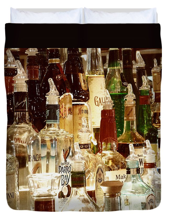 Liquor Bottles Duvet Cover featuring the photograph Liquor Bottles by Methune Hively