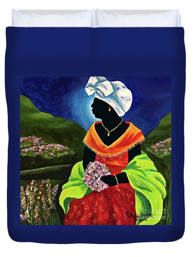 Haiti Duvet Cover featuring the painting Lisabelle by Patricia Brintle