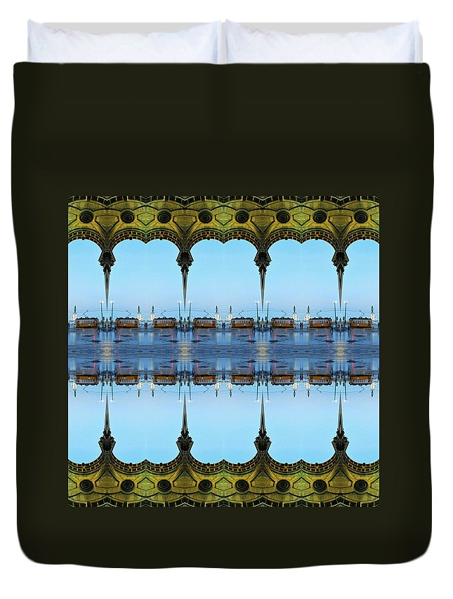 Lisbon Duvet Cover featuring the digital art Lisbon Tram Is Here. by YOR - Your Own Reality