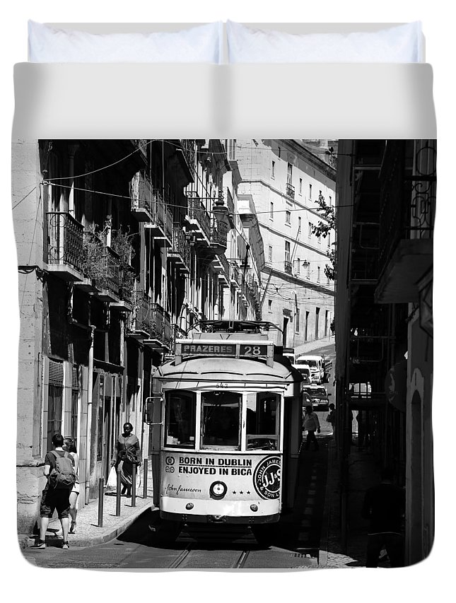 Trolley Duvet Cover featuring the photograph Lisbon Trolley 16b by Andrew Fare