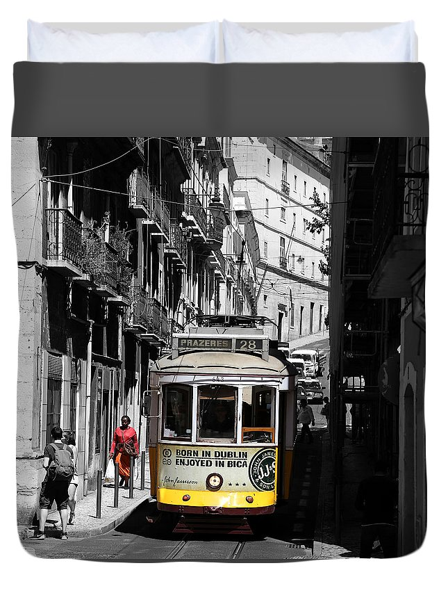 Trolley Duvet Cover featuring the photograph Lisbon Trolley 16c by Andrew Fare