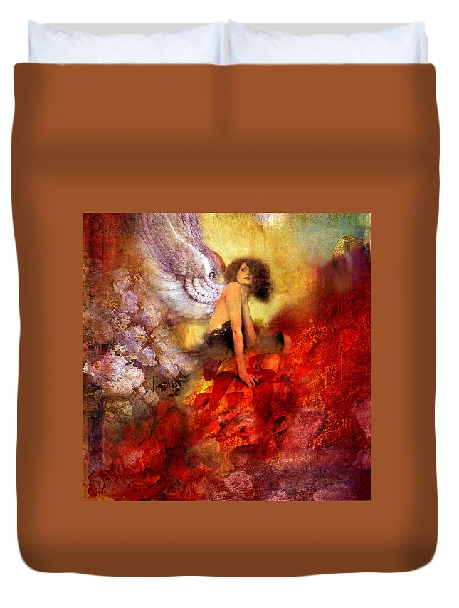 Valkyrie With Flowers And Nova Star. Duvet Cover featuring the painting Lissa Buttons by Philip Habeger